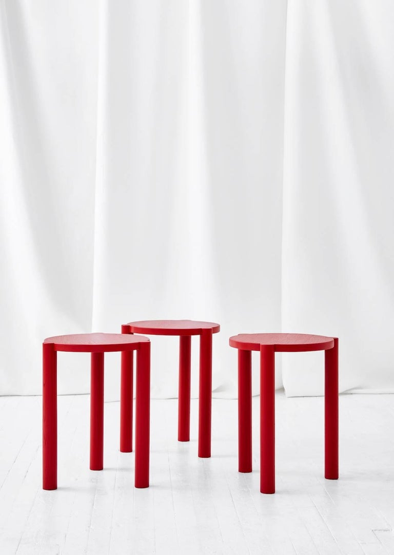 The WC3 stool by ASH, NYC is a playful stool. The hand-turned legs join seamlessly with the seat to create an elegant, handcrafted joint that defies gravity.   An exercise in Minimalist design, the hidden joints allow for the stool to function