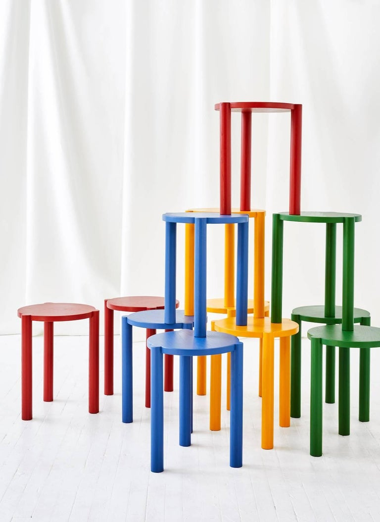Minimalist WC3 Stool by ASH, NYC in Red For Sale