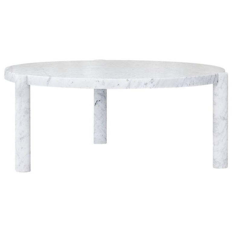 WC1 Cocktail Table by ASH NYC in Carrara Marble For Sale
