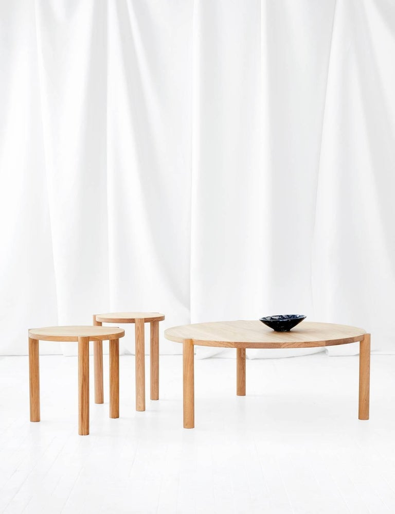 Woodwork WC4 Side Table by ASH NYC in White Oak For Sale