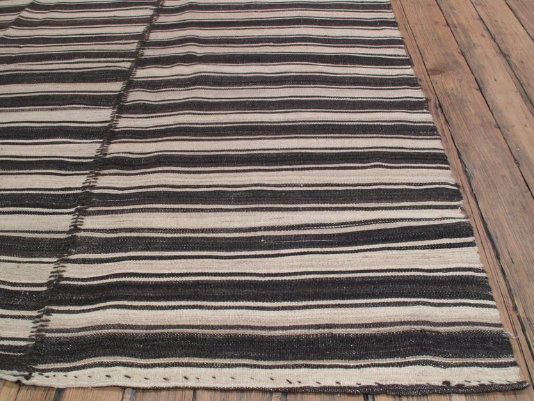 Banded Kilim In Three Panels At 1stdibs