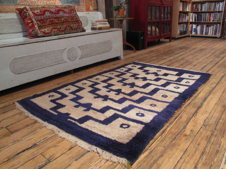 An old tribal rug from Central Turkey, woven in the shaggy