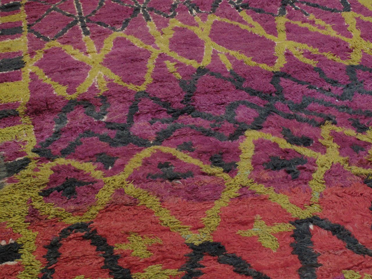 Tribal Ait Bou Ichaouen Moroccan Berber Carpet For Sale