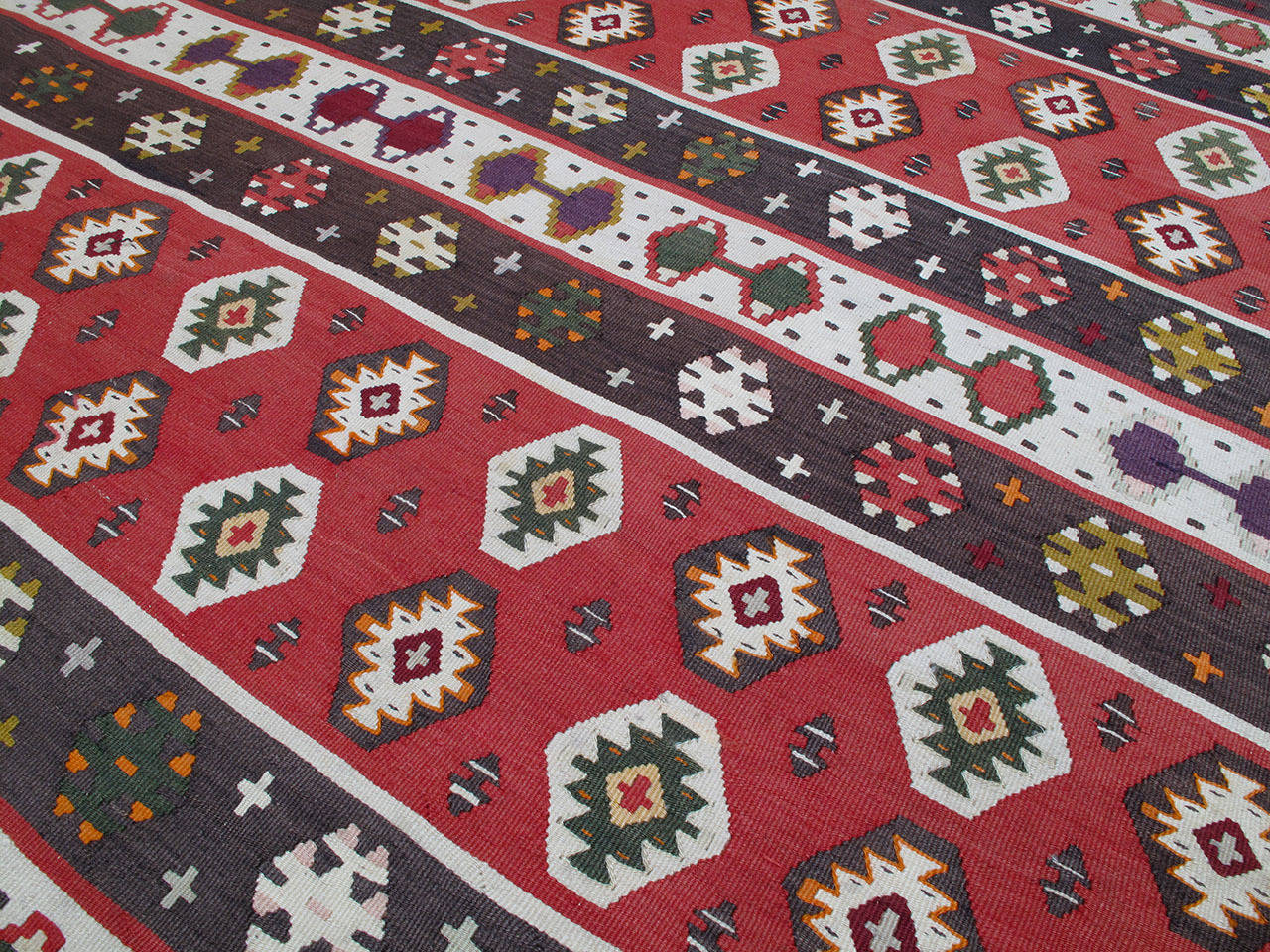 Hand-Woven Balkan Kilim Rug For Sale