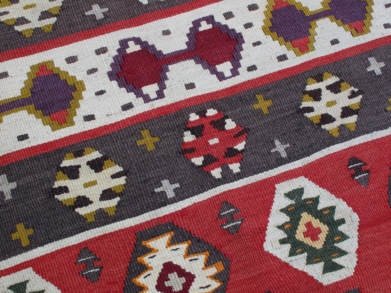 Wool Balkan Kilim Rug For Sale