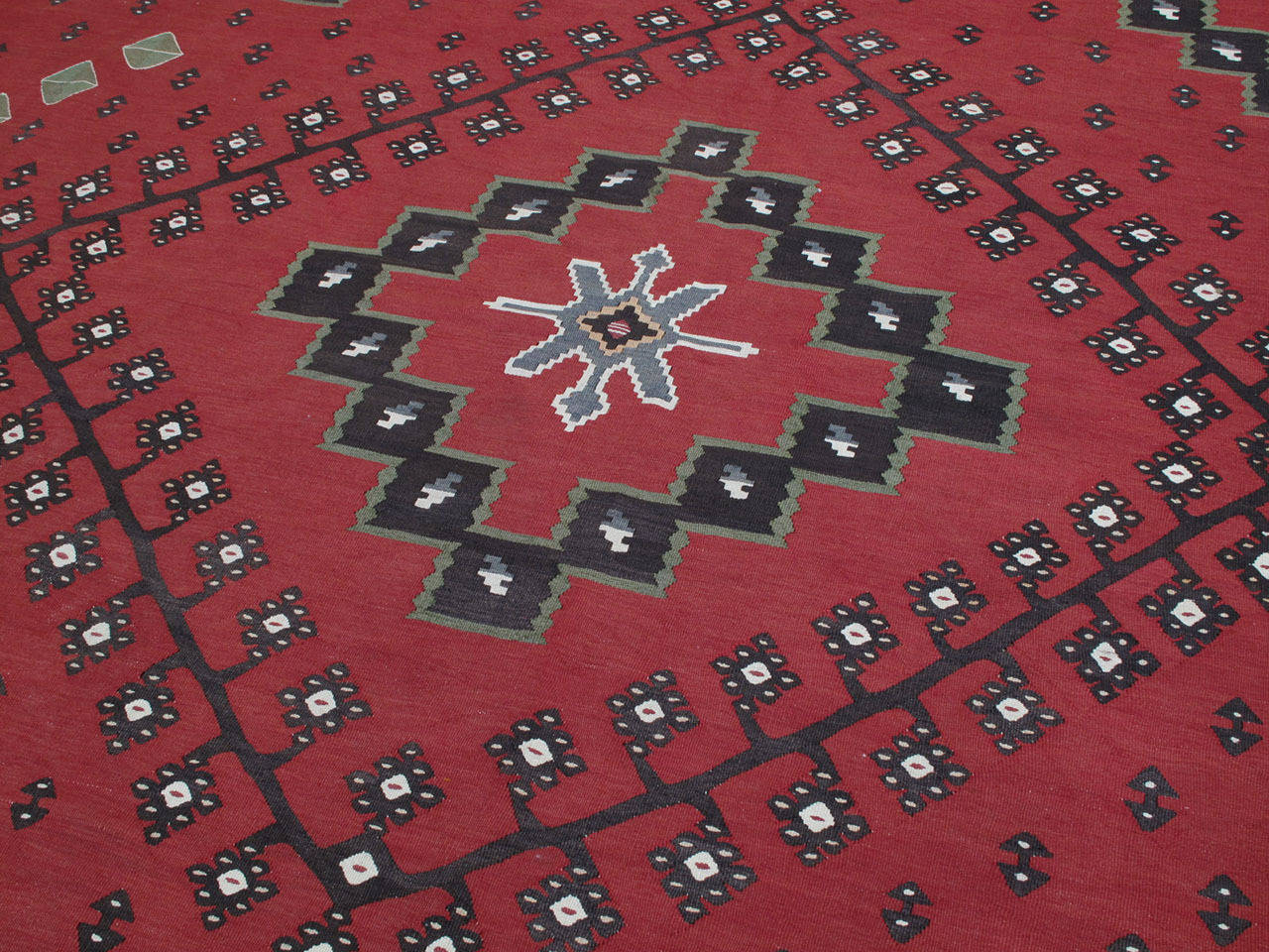 Hand-Woven Large Balkan Kilim For Sale