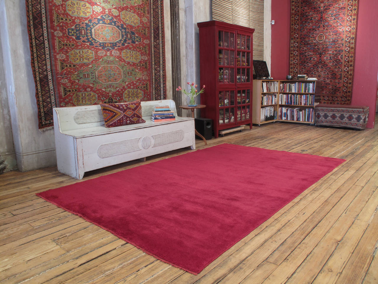 Fantastic Red Tulu carpet. A superb old village rug or carpet, woven with high pile, in the