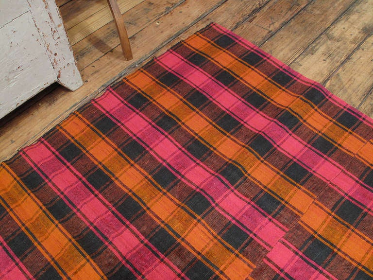 Turkish Plaid Cover Rug For Sale
