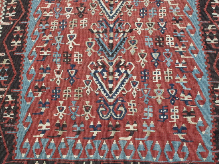 Wool Antique Erzurum Kilim For Sale