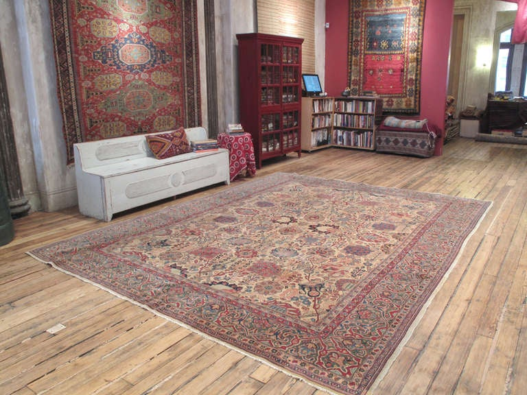 Antique Tabriz carpet or rug. A very handsome antique Persian carpet or rug from the city of Tabriz, one of the most prolific weaving centers of Iran throughout history. Unusually light color palette, featuring a green border. A very pleasing