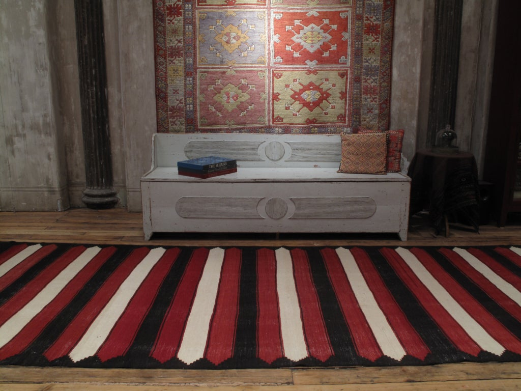 Turkish Red, White and Black Kilim 'Wide Runner' Rug For Sale