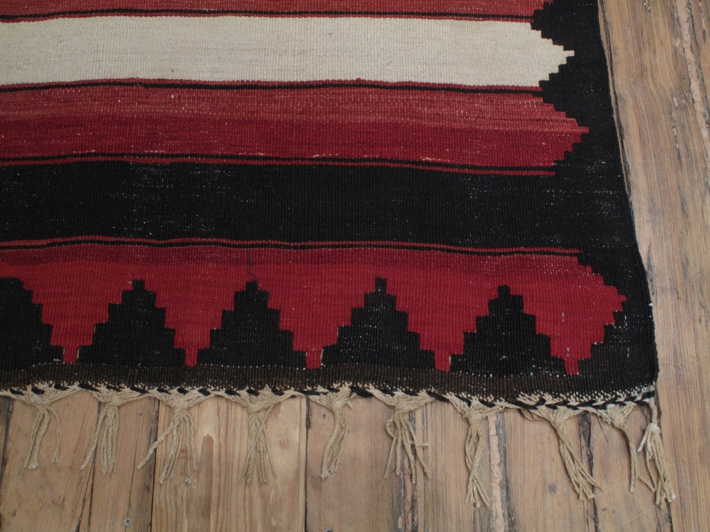 Woven Red, White and Black Kilim 'Wide Runner' Rug For Sale