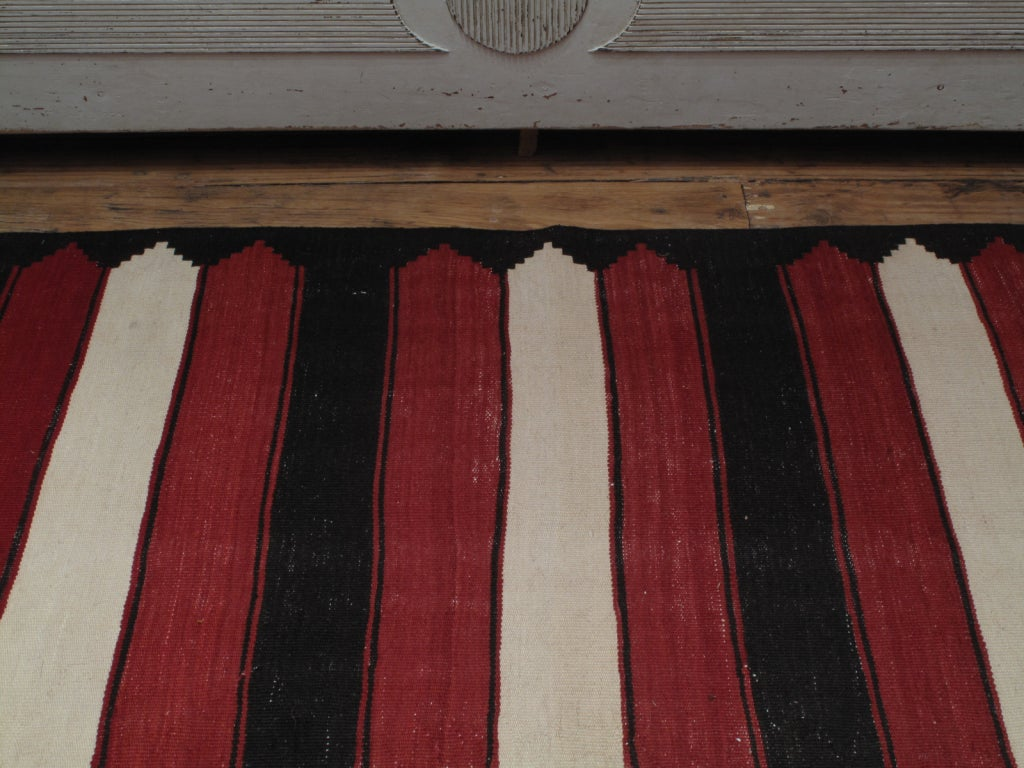 Red, White and Black Kilim 'Wide Runner' Rug In Good Condition For Sale In New York, NY