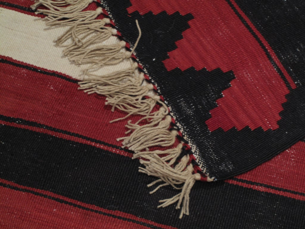 20th Century Red, White and Black Kilim 'Wide Runner' Rug For Sale