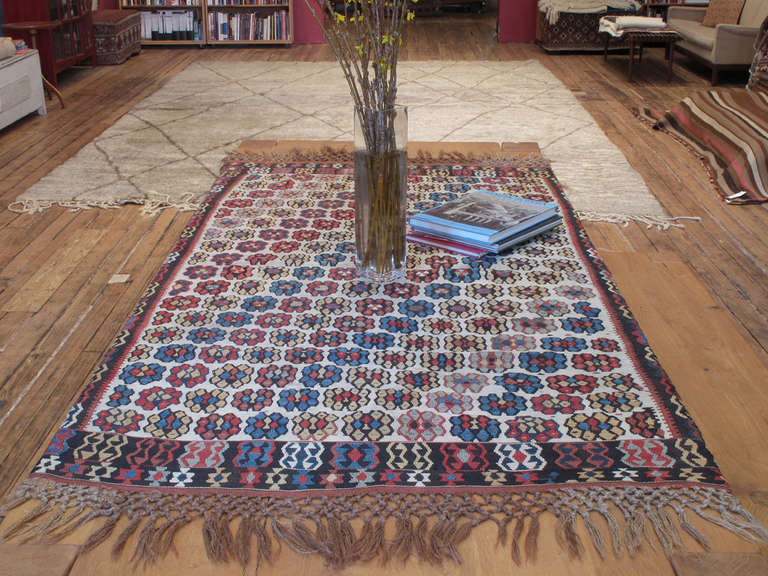 An exquisite example of Anatolian Kilim weaving tradition from a region known with its finely woven masterpieces. Most antique Erzurum Kilims feature a prayer arch design, which must have been popular among the local patrons for whom such fine