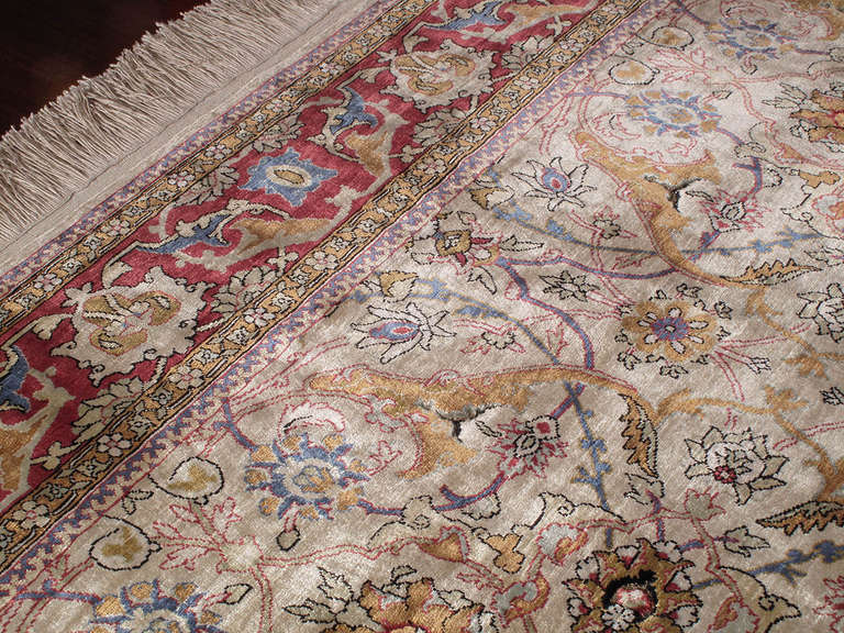 Late 20th Century Silk Hereke Rug For