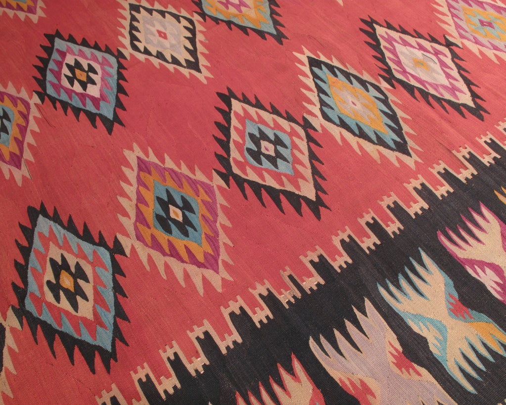 Hand-Woven Balkan Kilim Rug For Sale
