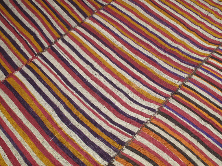 Colorful Striped Kilim At 1stdibs