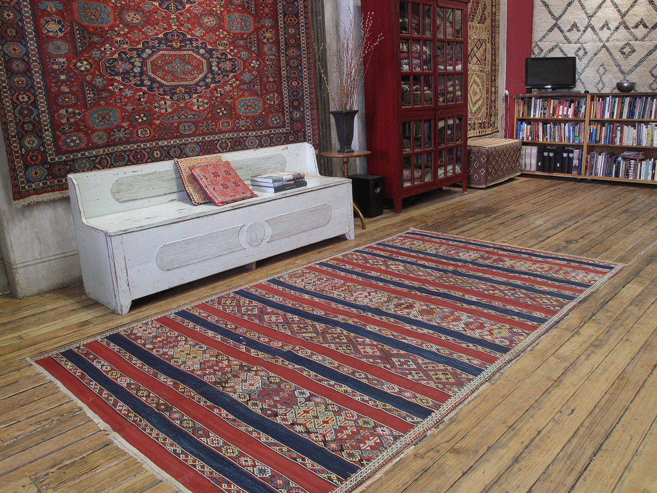 Antique Malatya Kilim rug. A great antique tribal flat-weave rug attributed to the Malatya province in Eastern Turkey. Woven in two narrow panels, like many nomadic tribal weavings, this handsome Kilim rug displays intricately brocaded bands in