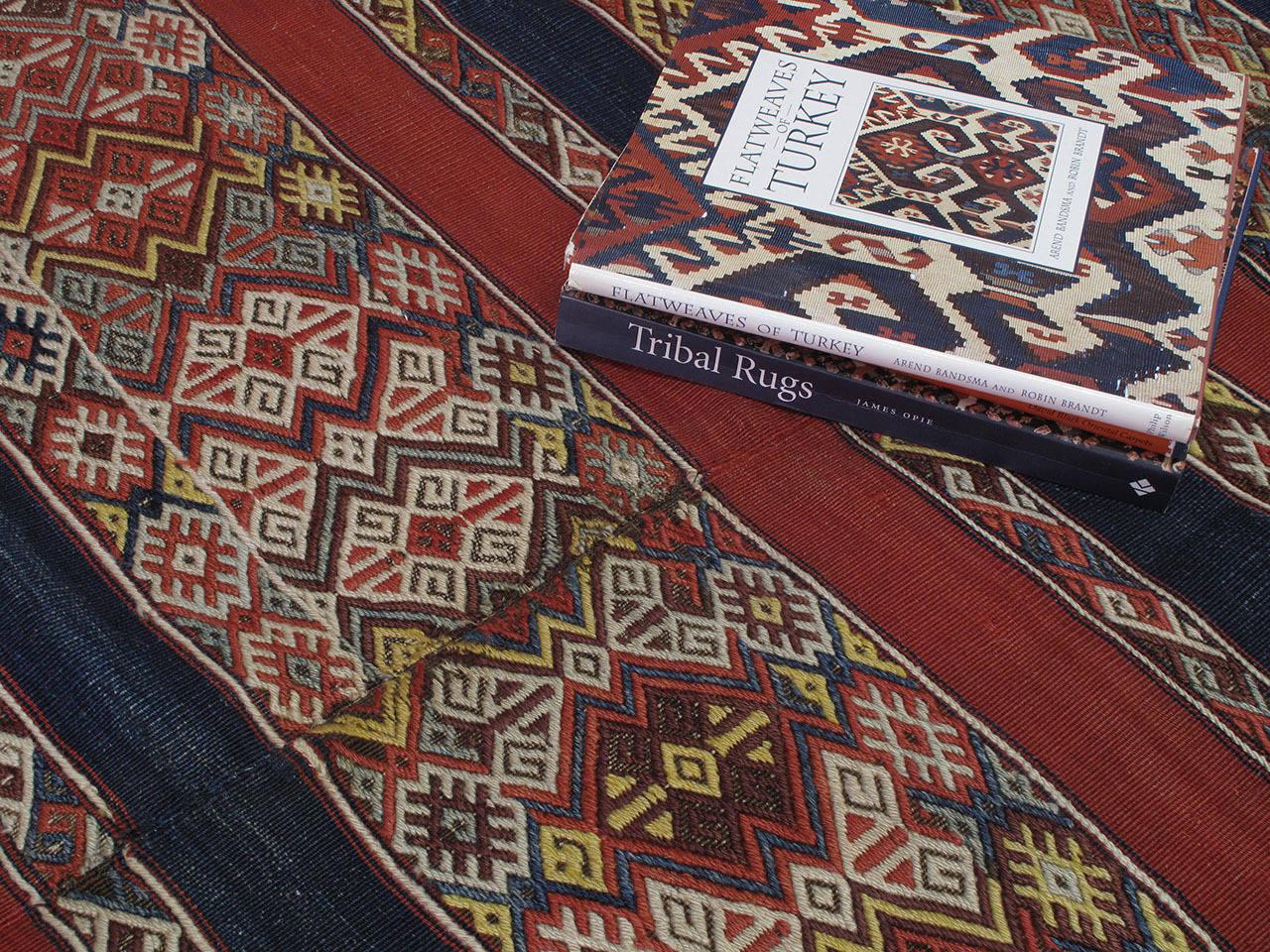 Wool Antique Malatya Kilim Rug For Sale