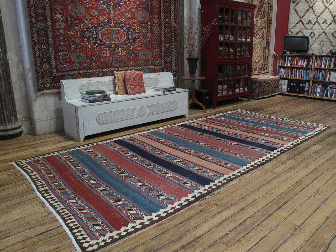 Antique Shahsavan Kilim rug. A beautiful antique tribal flat-weave from Azerbaijan, rug is attributed to the Shahsavan nomads. Designs with alternating bands are common enough among many weaving groups, but this example stands out with its wonderful