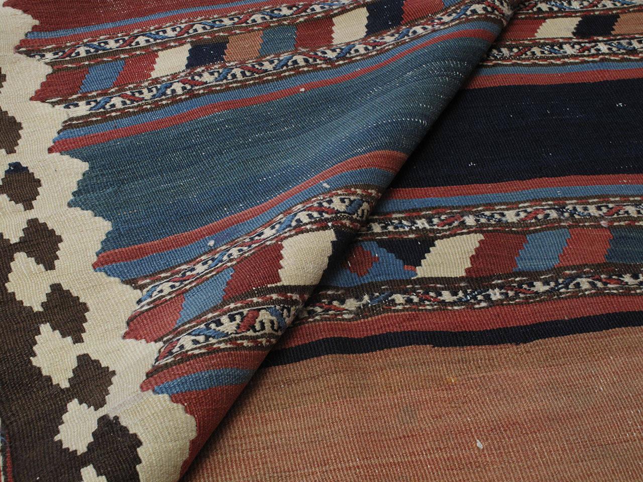 Cotton Antique Shahsavan Kilim Rug For Sale