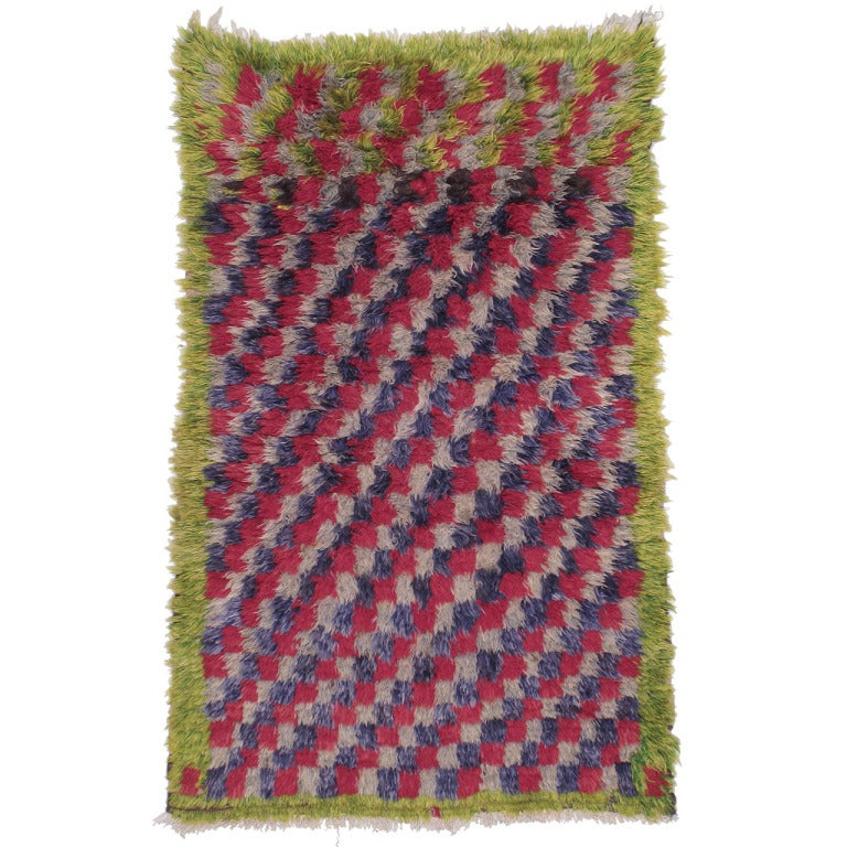 """Checkerboard Rug: Colorful Checkerboard """"Tulu"""" Rug For Sale At 1stdibs"""