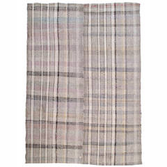 Cotton and Goat Hair Kilim in Plaid