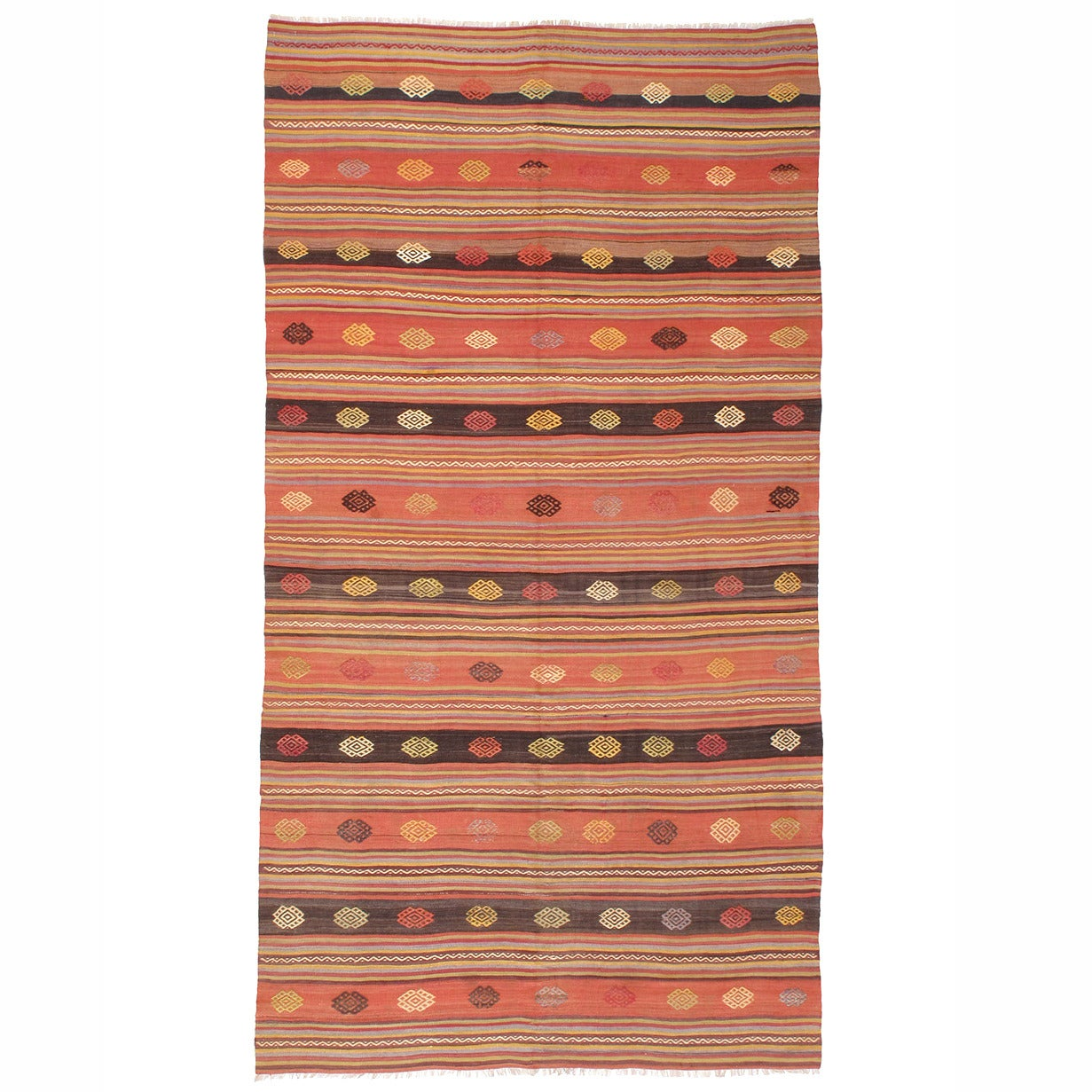 Kilim Rug with Decorated Bands