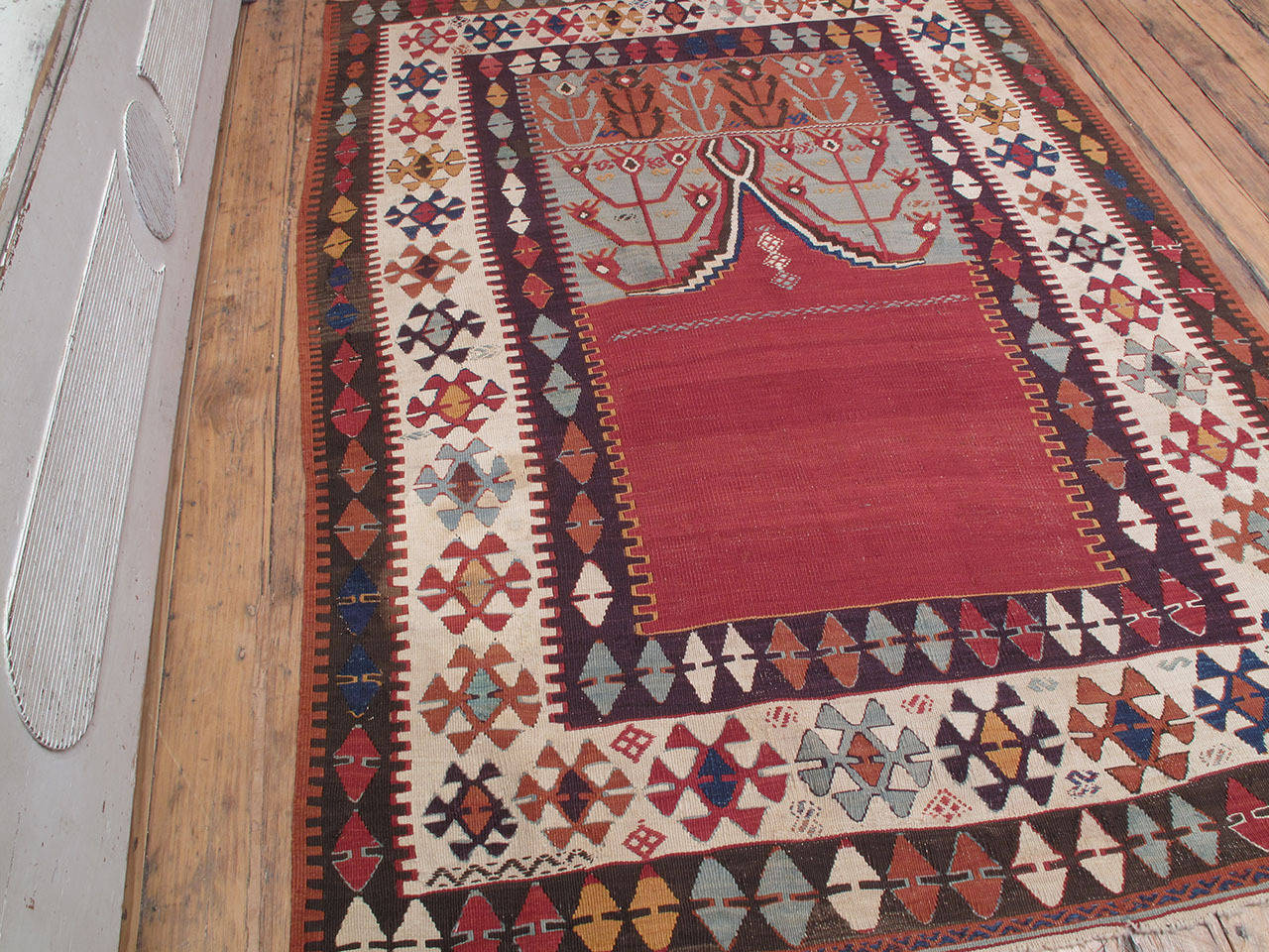 """Turkish Antique Central Anatolian Kilim with """"Tulips"""" For Sale"""