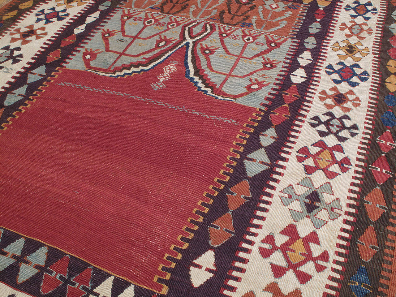 """Hand-Woven Antique Central Anatolian Kilim with """"Tulips"""" For Sale"""