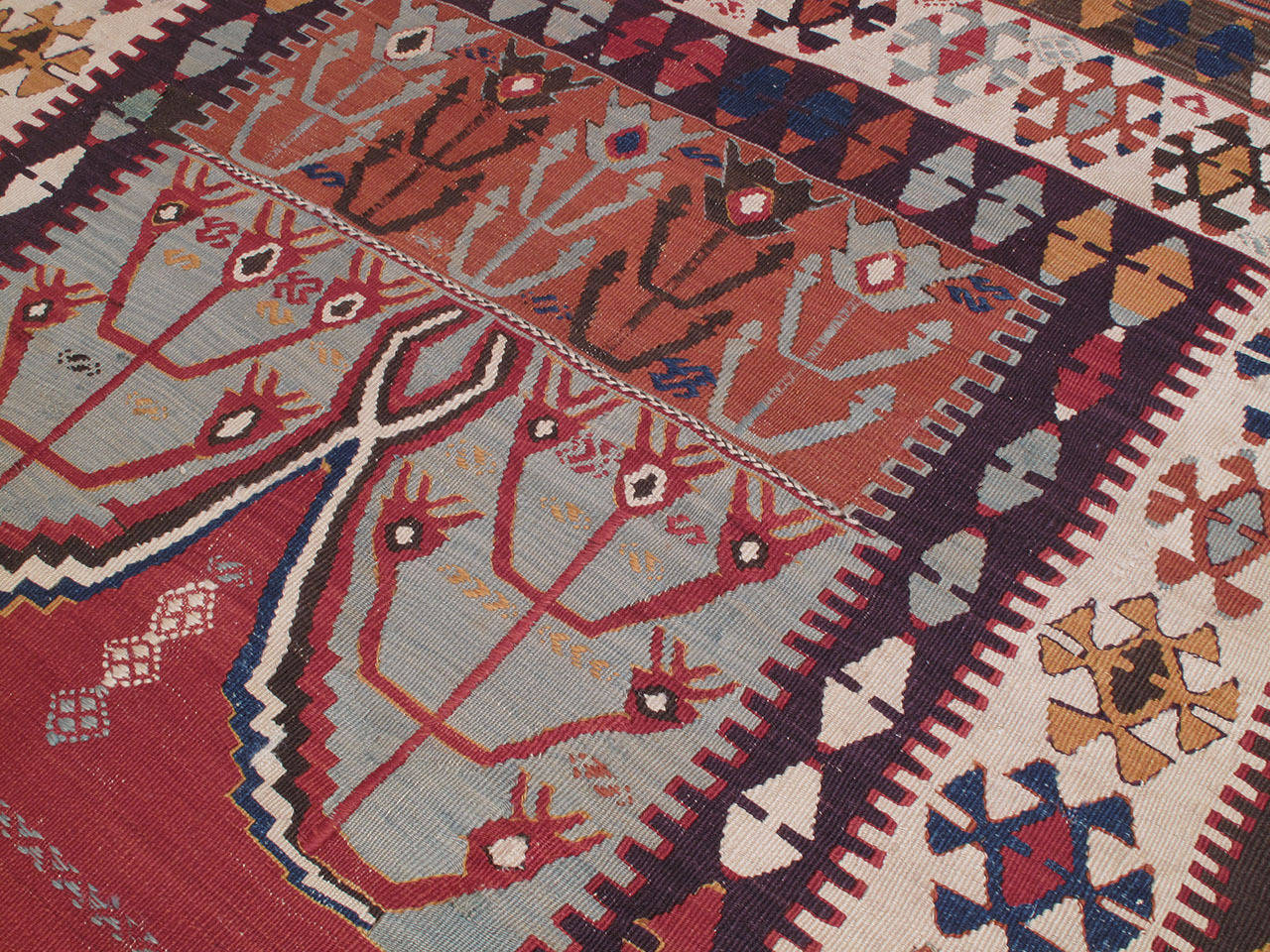 """Antique Central Anatolian Kilim with """"Tulips"""" In Good Condition For Sale In New York, NY"""