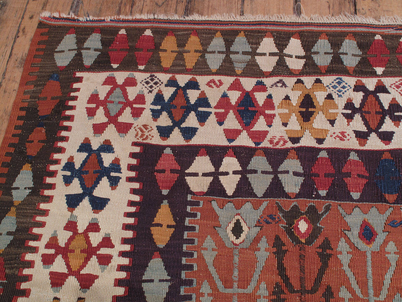 """Wool Antique Central Anatolian Kilim with """"Tulips"""" For Sale"""