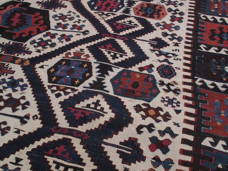 Hand-Woven Antique Aydin Kilim For Sale