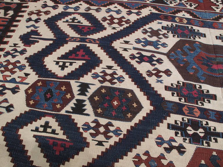 19th Century Antique Aydin Kilim For Sale
