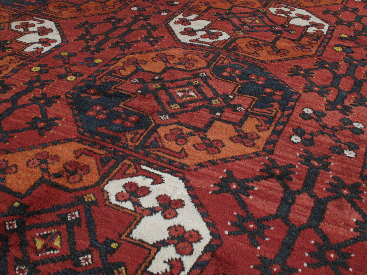 Hand-Knotted Antique Turkmen Main Carpet For Sale