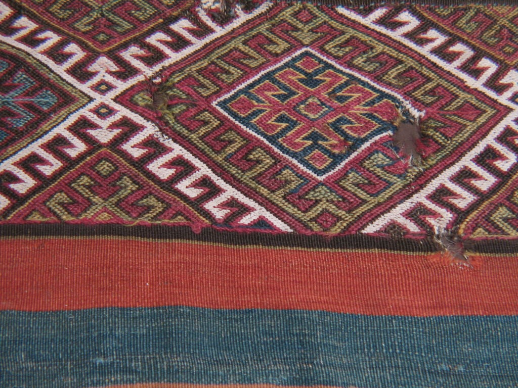 19th Century Antique Anatolian Kilim, Grain Sack For Sale