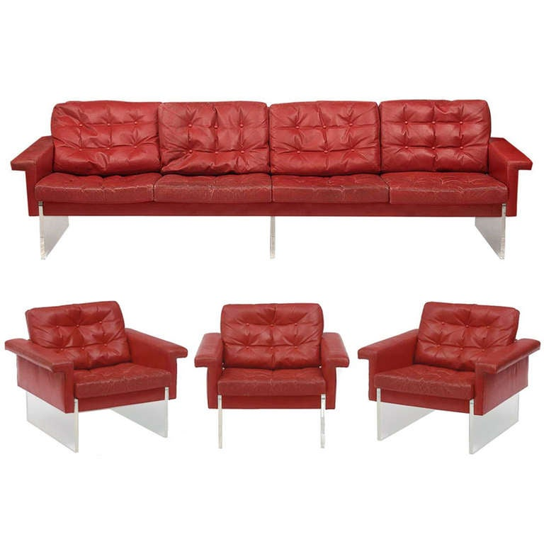 vintage 4 seats sofa and 3 armchairs at 1stdibs. Black Bedroom Furniture Sets. Home Design Ideas
