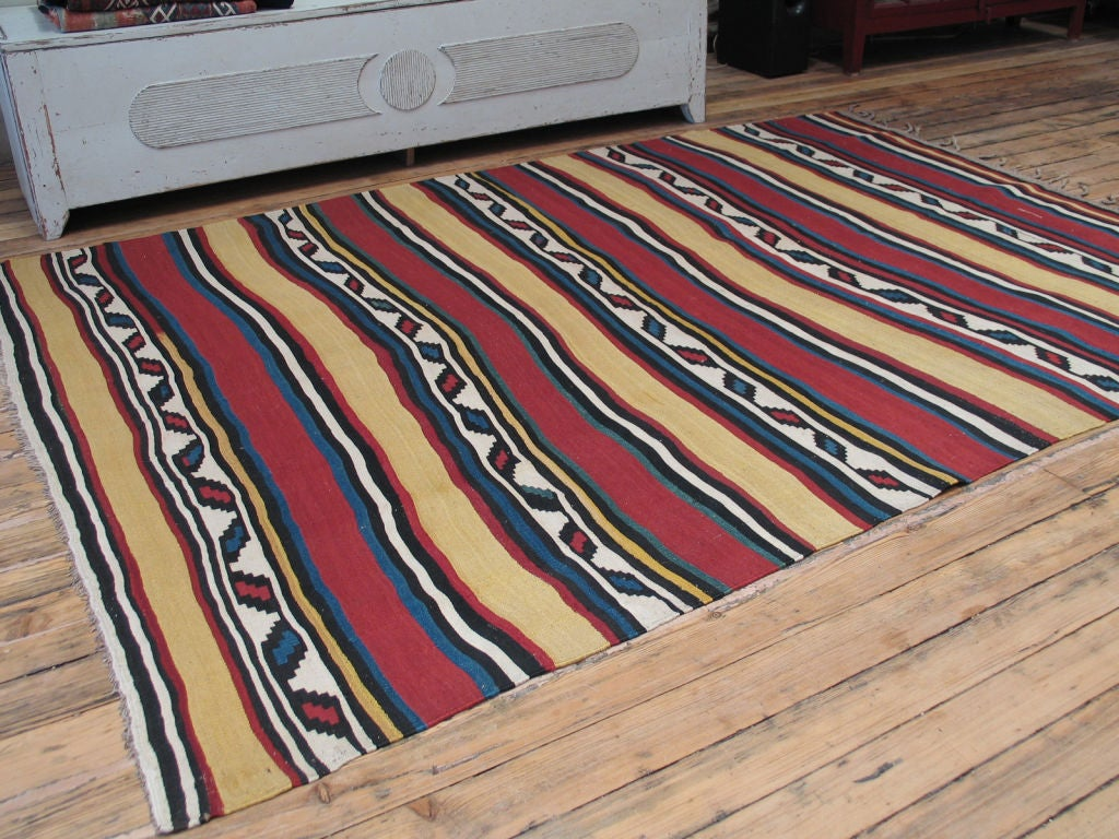 Antique Shahsavan Kilim rug. Very good, older example of a well-known type of rug from the Caucasus. Rug has great colors, especially yellow and red.