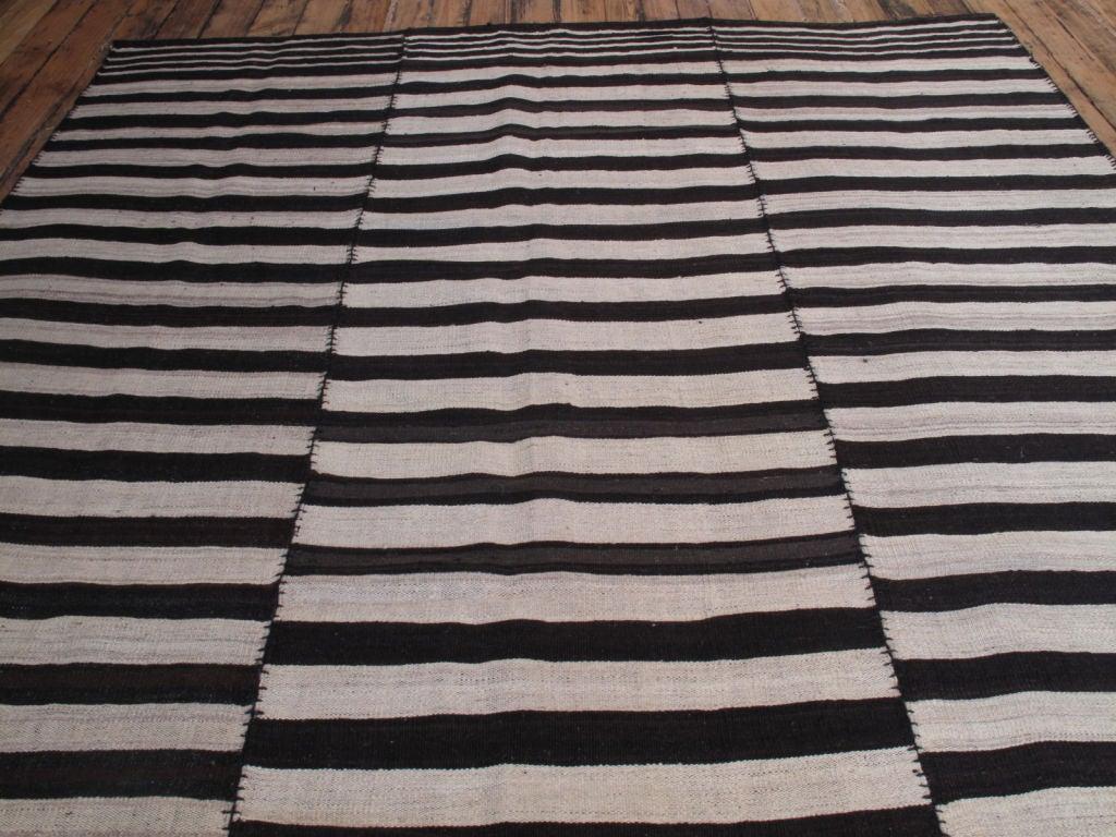 Wool B&W Banded Kilim