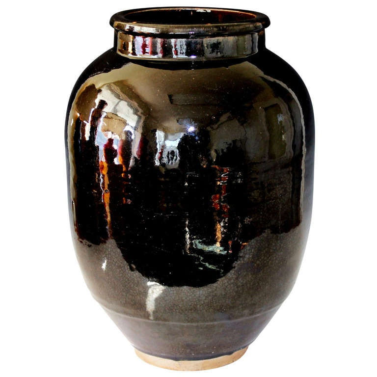 Old mirror black shigaraki storage jar ikebana vase at 1stdibs for Old asian furniture