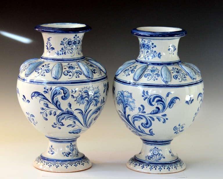 Pair Antique Spanish Talavera Blue And White Faience Majolica