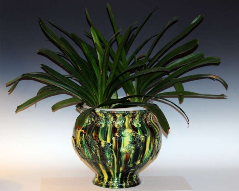 Awaji Pottery Flambe Jardiniere For Sale 2