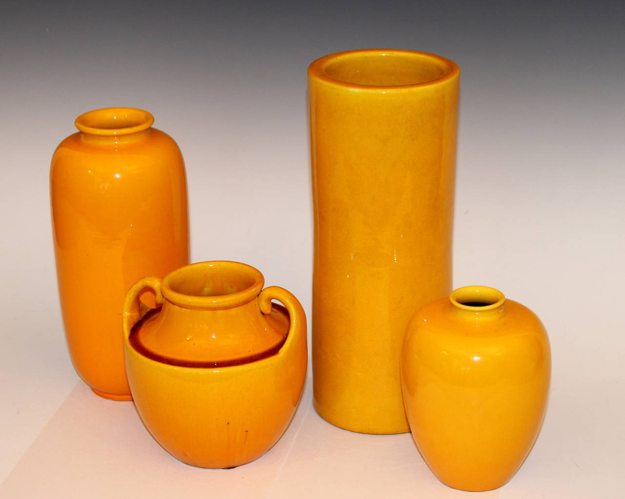 Vintage awaji pottery vases in translucent golden yellow glaze at art deco vintage awaji pottery vases in translucent golden yellow glaze for sale reviewsmspy