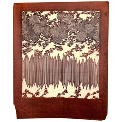 Antique Japanese Kimono Fabric Stencil Wood Block Print Katagami