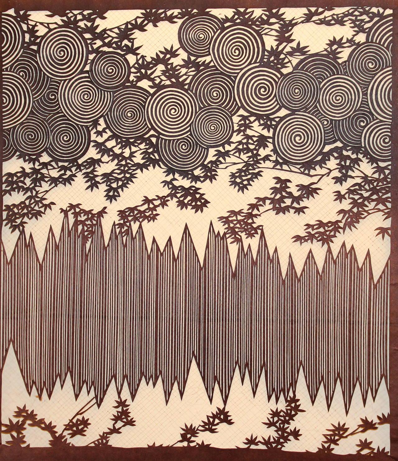 0a713d173 Edo Antique Japanese Kimono Fabric Stencil Wood Block Print Katagami For  Sale