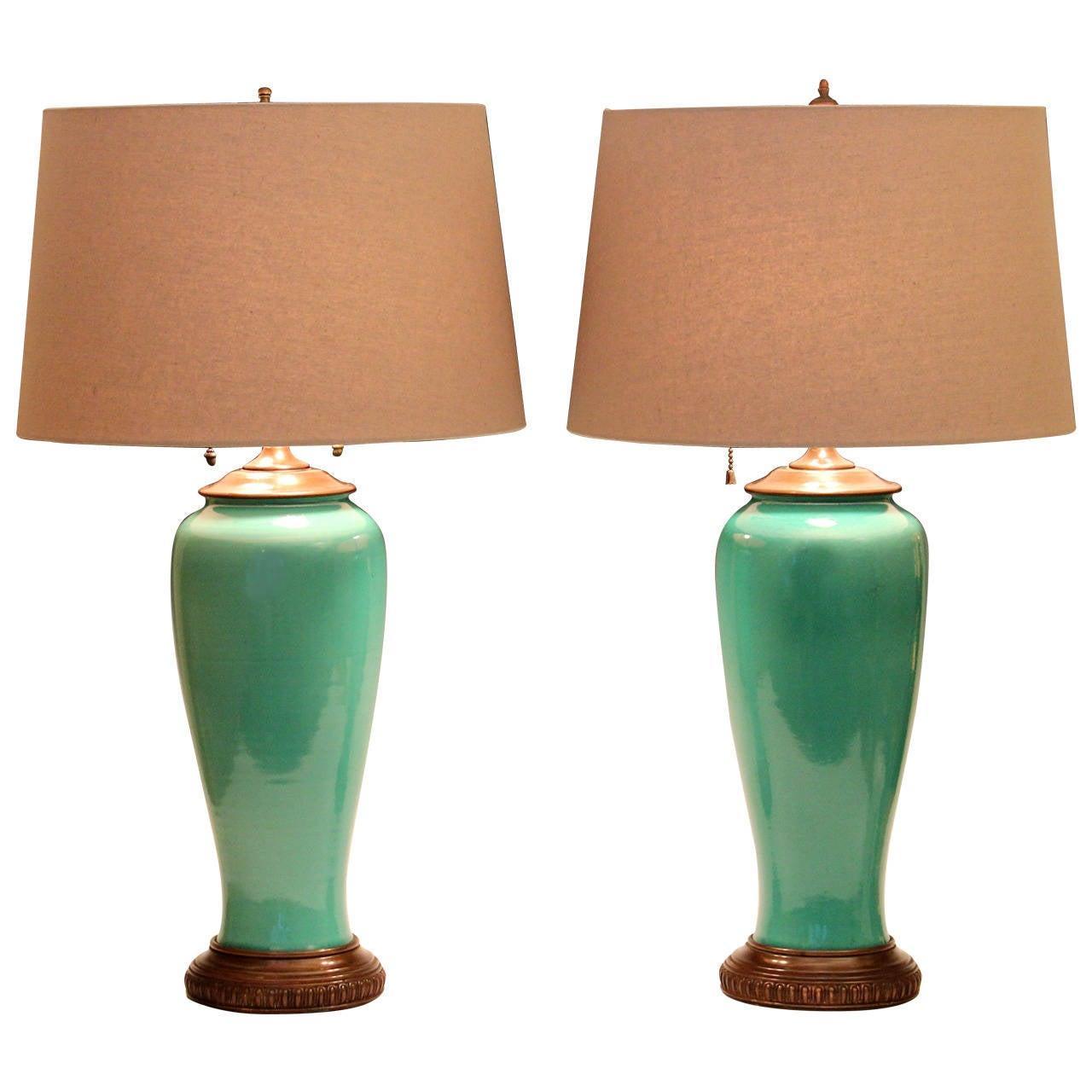 Pair of Vintage Rookwood Art Pottery Green Celadon Crackle Glaze Lamps at 1stdibs