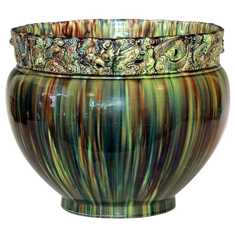 Antique Awaji Pottery Jardinière
