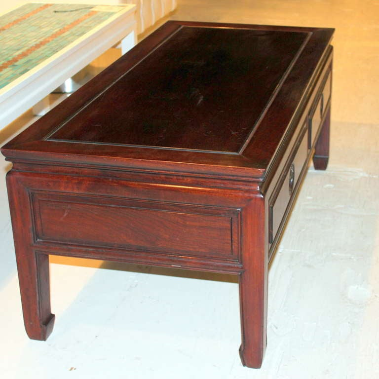 Long Low Coffee Table: Vintage Chinese Hardwood Rosewood Coffee Low Long Table At