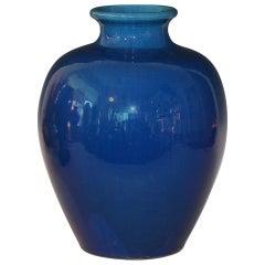 Large Antique Kyoto Pottery Blue Monochrome Vase